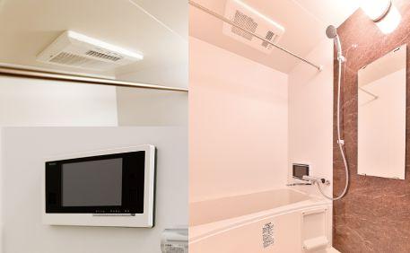 1日の疲れを癒すバスルームは浴室テレビなど設備が充実